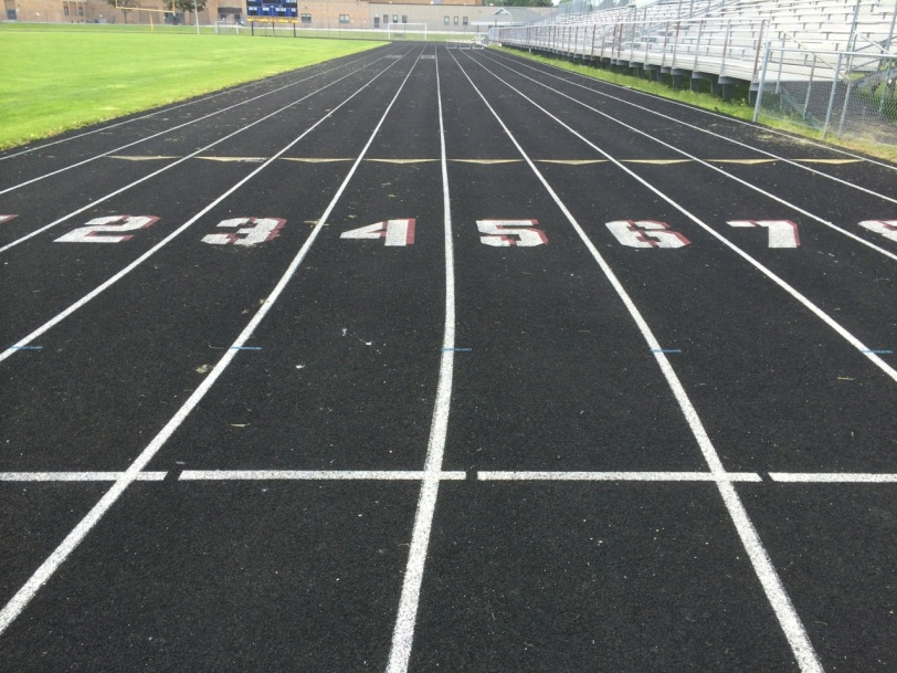 100m start line, with gaps for lane marking.